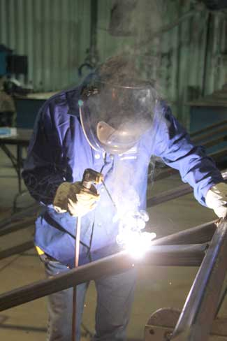Jaspro Services welder at Port Mersey Commercial Park