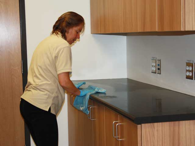 Post Construction Cleanup - South Queens Middle School - cleaning-counters
